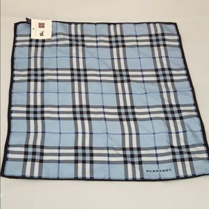 NWT Authentic Burberry Blue Plaid Check Silk Scarf